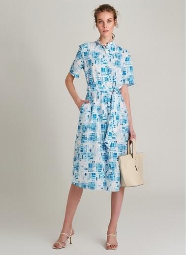 NGSTYLE Kısa Kollu Desenli Gömlek Elbise Mavi